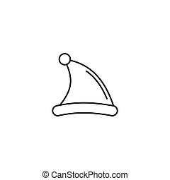 santa claus hat icon in line art style. Vector illustration