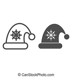 Santa claus hat line and glyph icon. Christmas hat with snoflake vector illustration isolated on white. Christmas cap outline style design, designed for web and app. Eps 10.