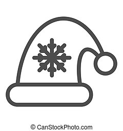 Santa claus hat line icon. Christmas hat with snoflake vector illustration isolated on white. Christmas cap outline style design, designed for web and app. Eps 10.