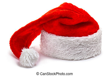 Santa Claus hat, lying on a white