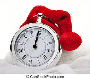 Santa claus hat on a clock