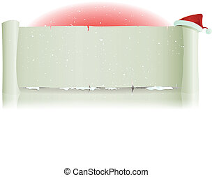 Santa Claus Hat On Merry Christmas Parchment Background