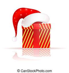 Santa Claus hat on the present