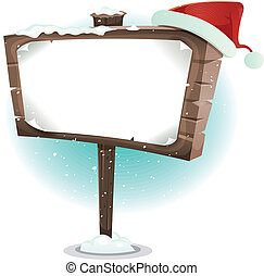 Santa Claus Hat On Wood Sign - Illustration of a cartoon red...