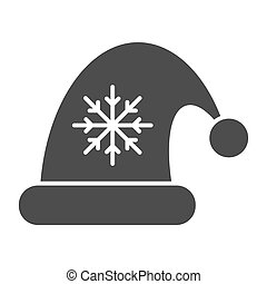 Santa claus hat solid icon. Christmas hat with snoflake vector illustration isolated on white. Christmas cap glyph style design, designed for web and app. Eps 10.