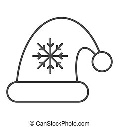 Santa claus hat thin line icon. Christmas hat with snoflake vector illustration isolated on white. Christmas cap outline style design, designed for web and app. Eps 10.