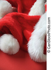 Santa Claus hats with copy space