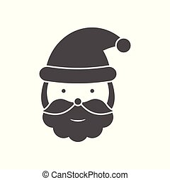 Santa Claus head black icon