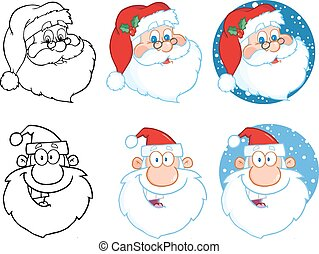 Santa Claus Head Collection Set