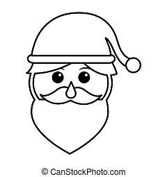 santa claus head isolated icon