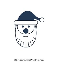 Santa claus head isolated vector icon