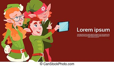 Santa Claus Helper Green Elf Group Making Selfie Photo, New Year Christmas Holiday Greeting Card