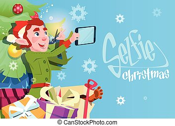 Santa Claus Helper Green Elf Making Selfie Photo, New Year Christmas Holiday Greeting Card