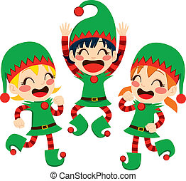 Santa Claus Helpers Dancing - Three little children dressed...