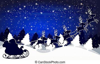 santa claus, hemel, tegen, bomen, achtergrond, nacht, arreslee, kerstmis, landscape, winter