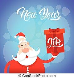 Santa Claus Hold Big Present Box Merry Christmas Greeting...