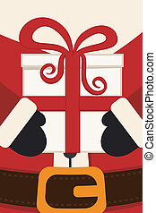 santa claus hold christmas gift