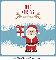 santa claus hold gift winter vintage