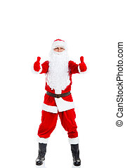 Santa Claus hold hand show thumb up finger gesture, full...
