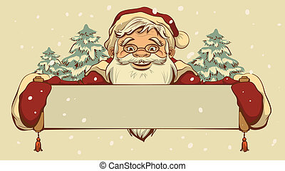 Santa Claus holding a banner