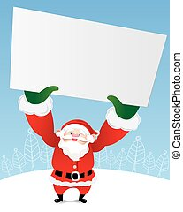Santa Claus holding a blank paper