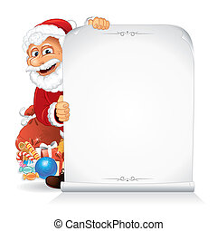 Santa Claus Holding a Blank Paper Scroll