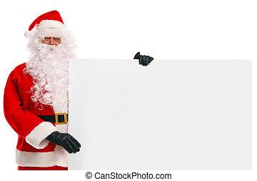 Santa Claus holding a blank sign - Photo of Santa Claus ...