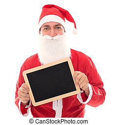 Santa Claus holding a board with Copyspace, isolated on White, concept Text for Christmas