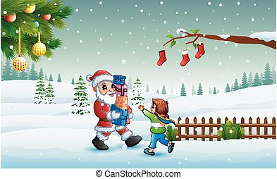 Santa claus holding a boxes gift and little girl in winter