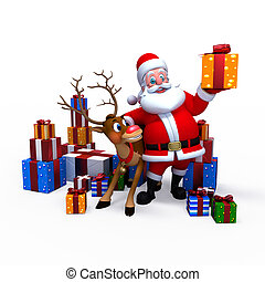 Illustration of a traditional red-suited Christmas Santa Claus with reindeer and gifts.