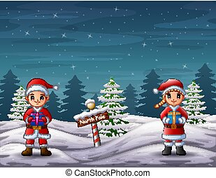 Santa claus holding a gift box in North pole landscape
