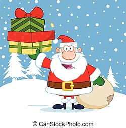 Santa Claus Holding A Gifts