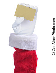 Santa Claus holding a Gold Credit card in his hand isolated over white