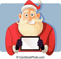 Santa Claus Holding a PC Tablet Vector Drawing