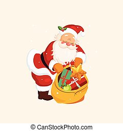 Santa Claus holding a Sack with Toys. Vector Illustration