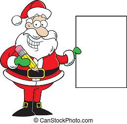 Santa Claus Holding a Sign