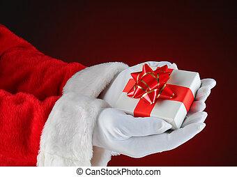 Santa Claus Holding a Small Christmas Present