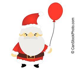 Santa claus holding balloon vector