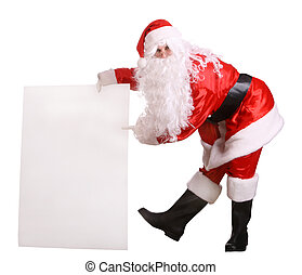 Santa Claus holding banner.