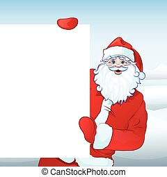 Santa Claus holding Banner, white board
