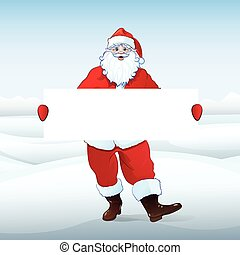 Santa Claus holding Banner, white board with blank empty ...