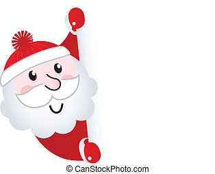 Santa Claus holding blank banner sign, isolated on white -...