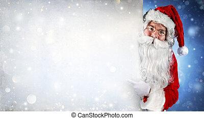Santa Claus Holding Blank Banner