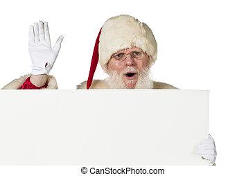 santa claus holding blank billboard