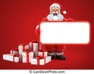 santa claus holding blank board