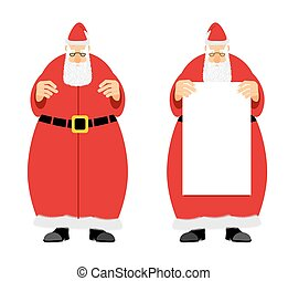 Santa Claus holding blank. Grandfather with a grey beard, fairytale character who brings gifts to children at Christmas.