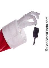 Santa claus holding car keys