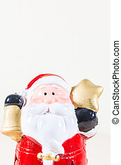 Santa Claus Holding Gold Star and Bell