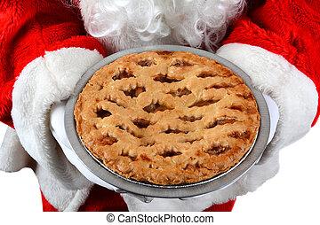 Santa Claus Holding Pie
