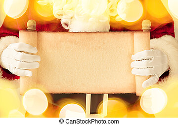 Santa Claus holding scroll paper blank